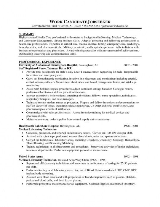 sample resume for medical laboratory technician lab technician