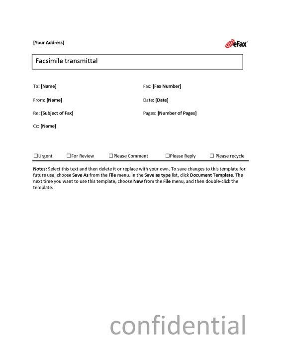 Use a Custom Fax Cover Sheet with Online Faxing - eFax®