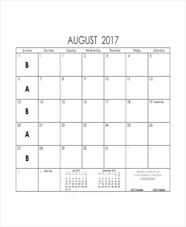 8+ Blank Printable Calendar Templates | Free & Premium Templates