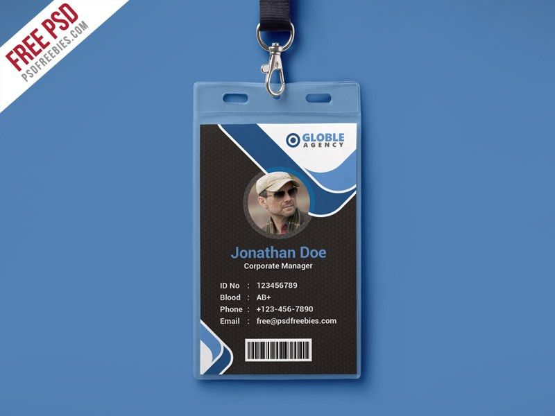 Multipurpose Dark Office ID Card Free PSD Template Download ...