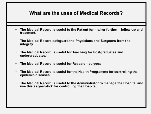 Medical Records Role and its Maintenance.