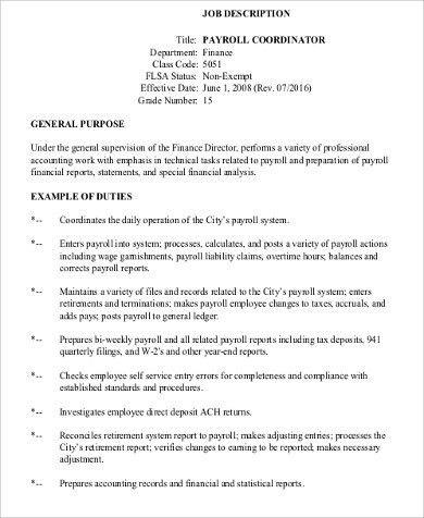 Attractive Payroll Coordinator Job Description Sample   6+ Examples In Word, PDF