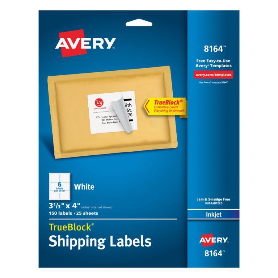 Avery TrueBlock White Inkjet Shipping Labels 3 13 x 4 Pack Of 150 ...