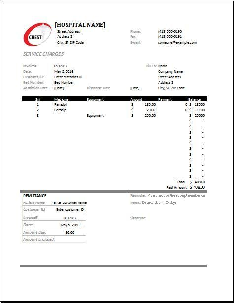 MS Excel Medical Invoice Template | Word & Excel Templates