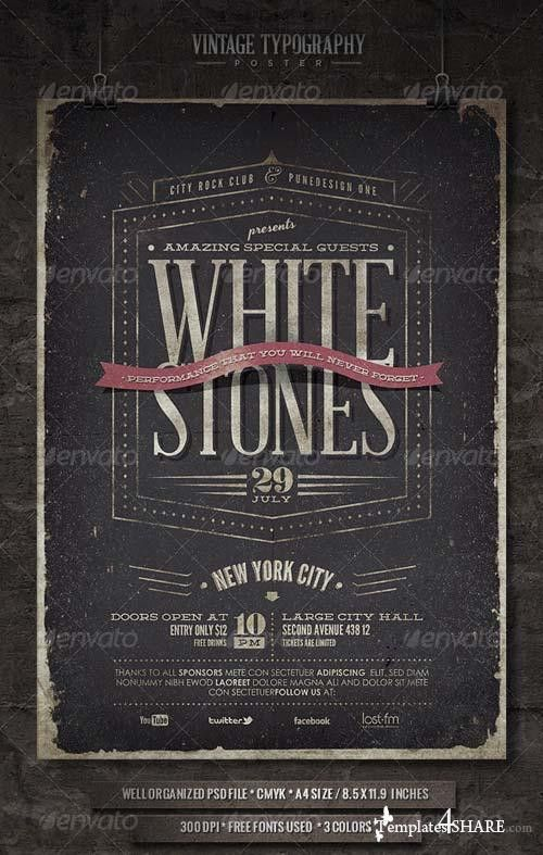 GraphicRiver Vintage Typography Poster - V » Templates4share.com ...