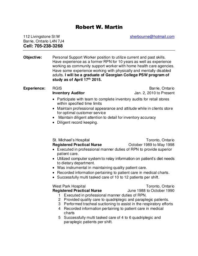 Robert w's health care support resume.rtf -----updated health care su…