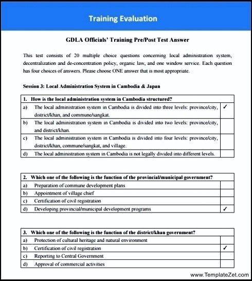 Training Evaluation Survey Template | TemplateZet