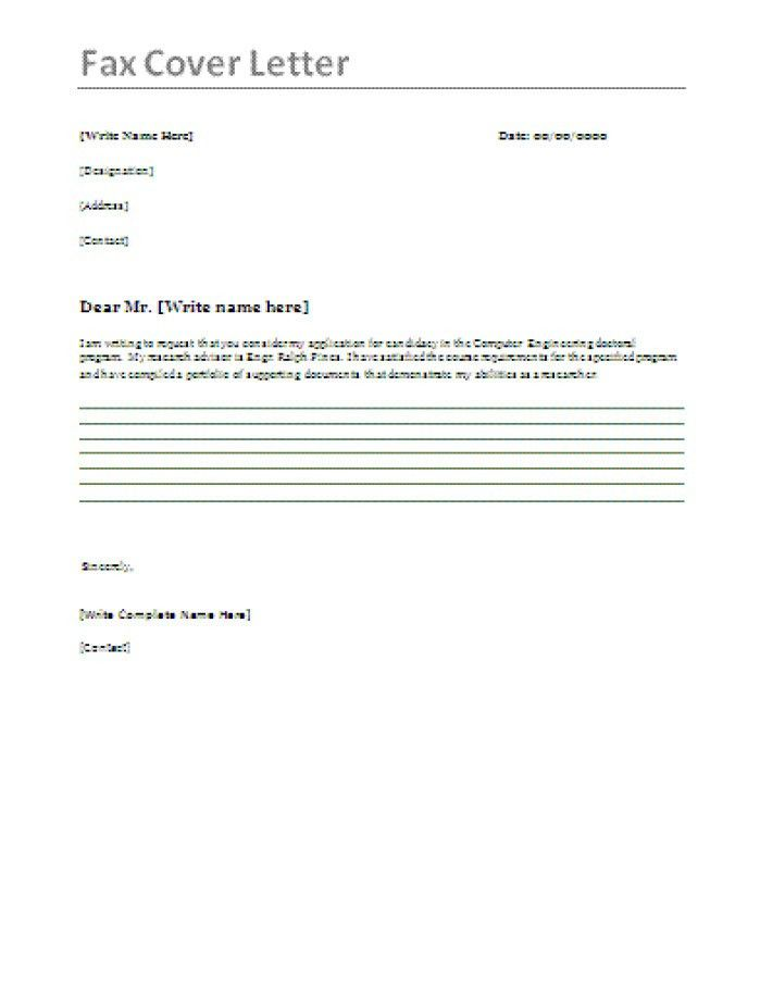 Sample Cover Letter Fax