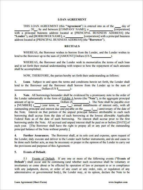 21+ Loan Agreement Template - Word, Excel, PDF Documents ...
