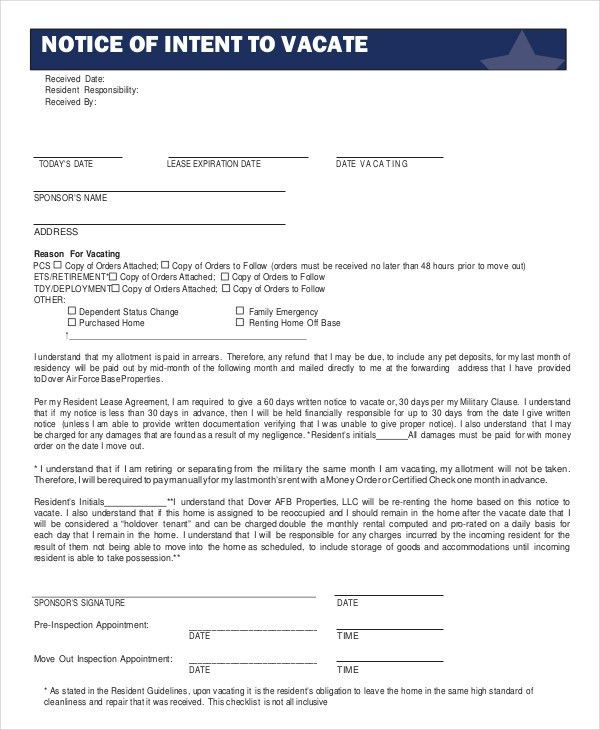Notice To Vacate Form - 9+ Free Word, PDF Documents Download ...