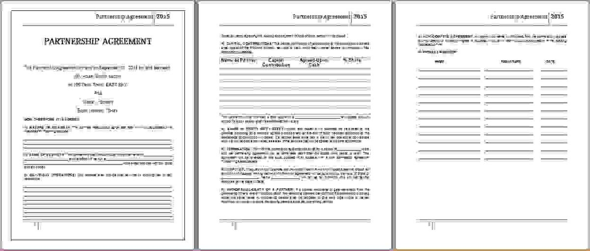 3+ partnership agreement template wordReport Template Document ...