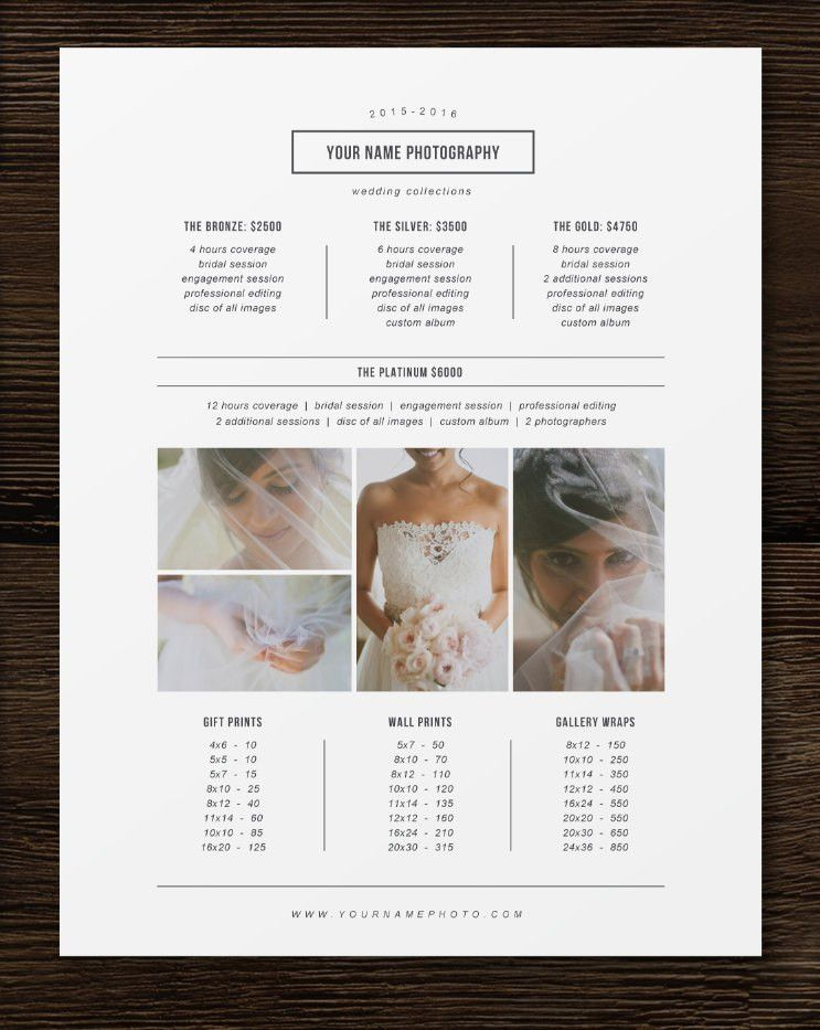 Price List Template - Photographer Pricing Guide - Wedding Price ...