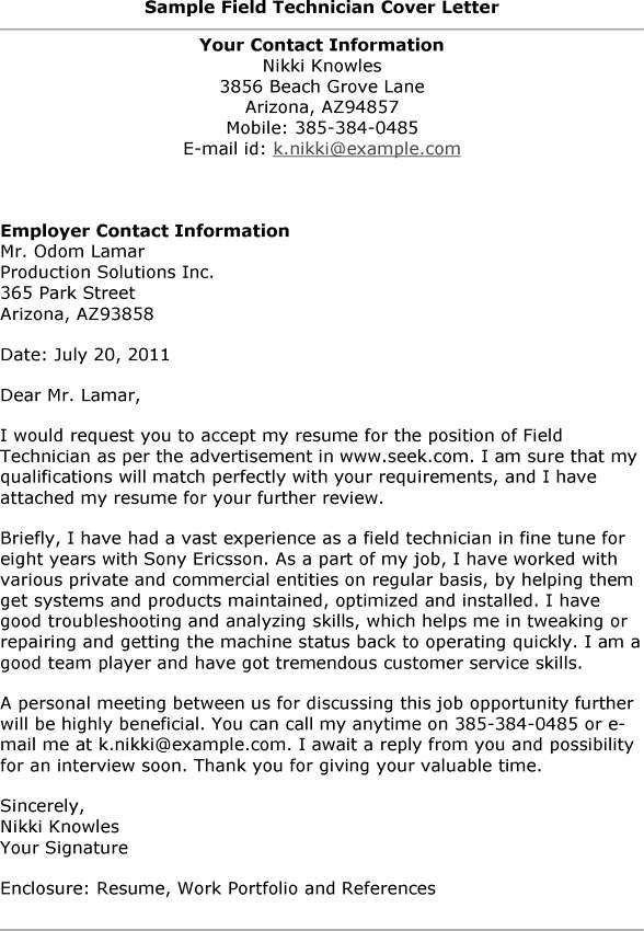 Field Service Technician Cover Letter | Maintenance Technician ...