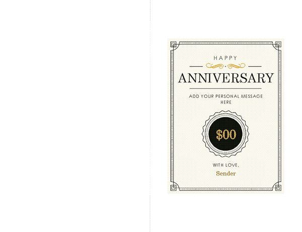 Anniversary gift certificate note card - Office Templates