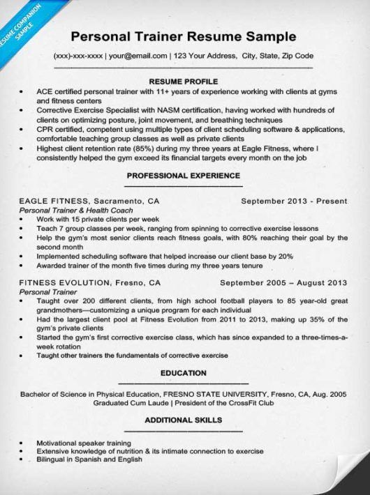 Personal Trainer Resume Sample & Writing Tips | Resume Companion