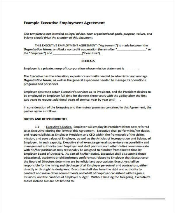 Employment Agreement Templates - 8+ Free PDF Format Download ...
