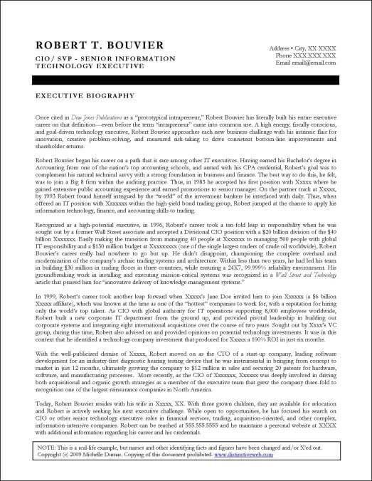 Executive Biography Samples   Distinctive Documents