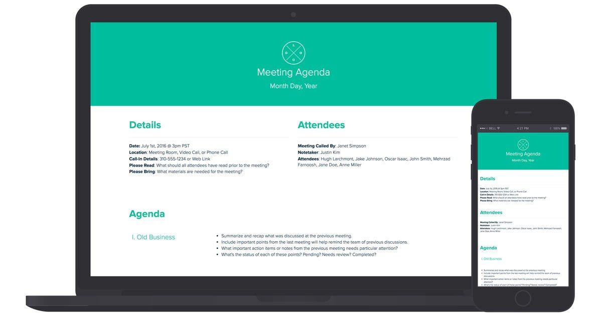 Meeting Agenda Template by Xtensio (It's free!)