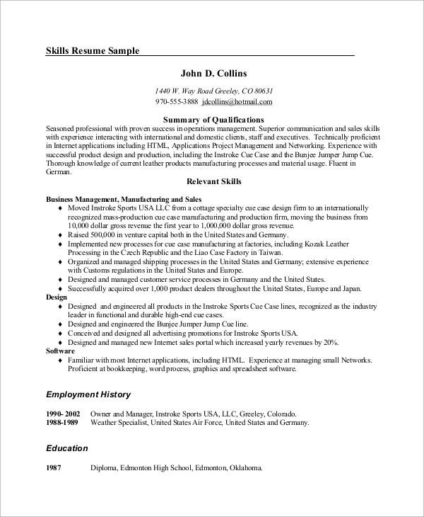 Example Management Resume