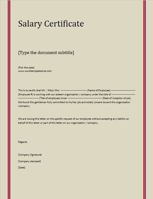 Salary Certificate Template | Stationary Templates | Pinterest ...