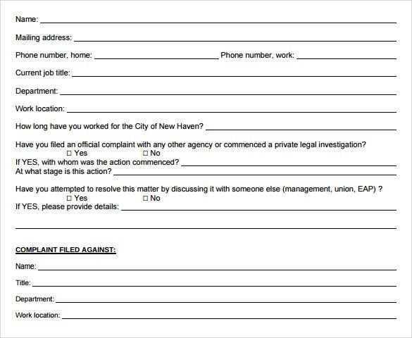 Sample Employee Complaint Form Template - 7+ Download Free ...