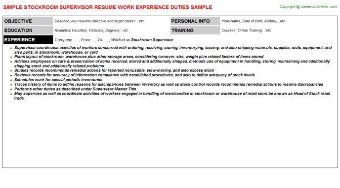 Stockroom Supervisor Resume Sample