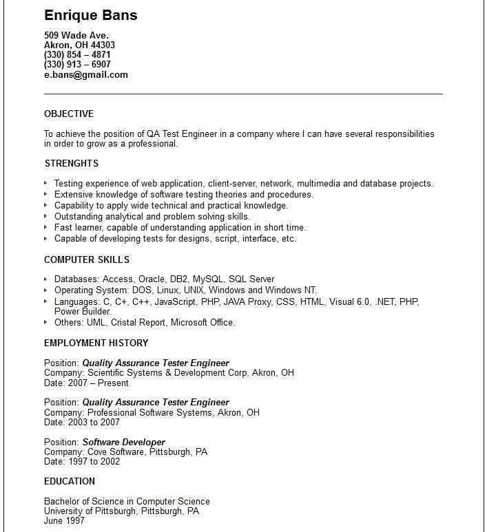 quality assurance sample resumes