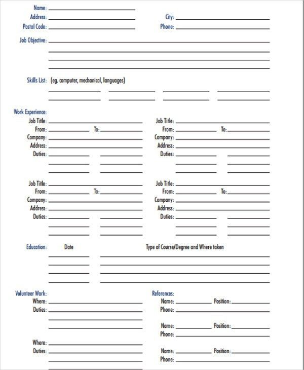 Free printable resume template blank