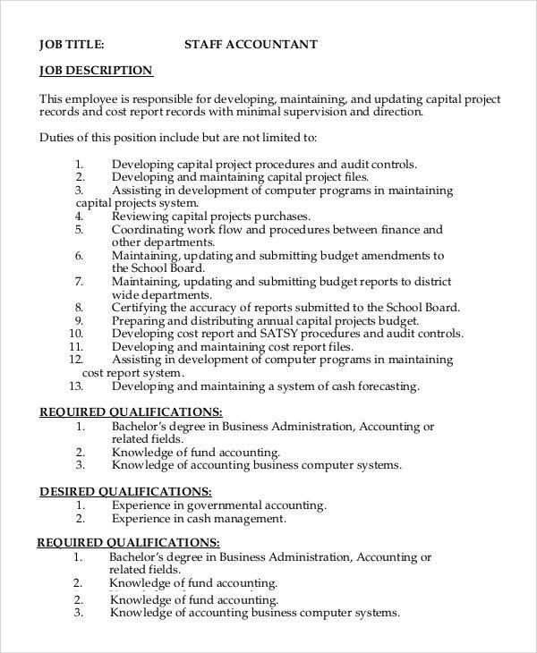 Sample Staff Accountant Job Description - 8+ Examples in PDF, Word