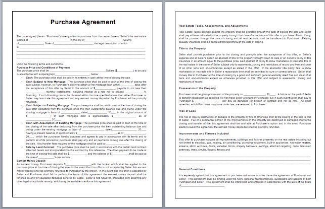 Purchase Contract Template | Microsoft Word Templates