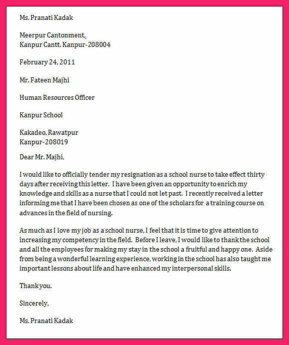 nursing resignation letter | bio letter format