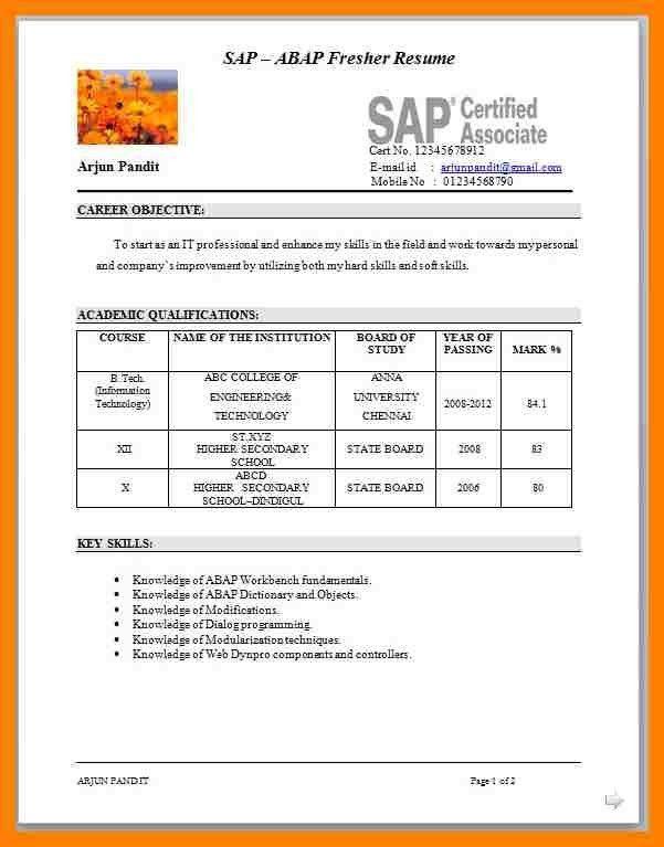 Sample Resume For Fresher Teacher In India - Templates