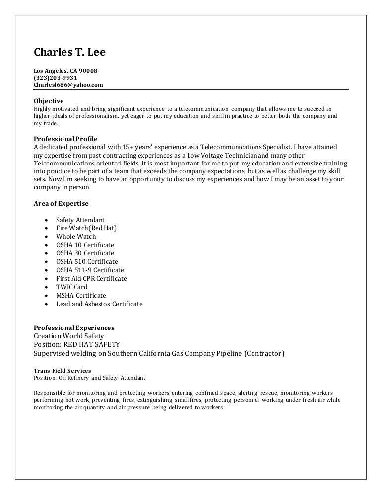 Charles_T._Lee_Resume_Oil Refinery Resume