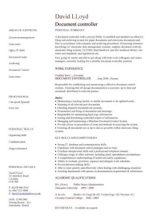 Document controller CV sample, job description, file validation,