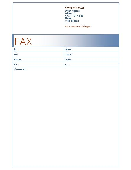 Fax cover sheet (Blue design) - Office Templates