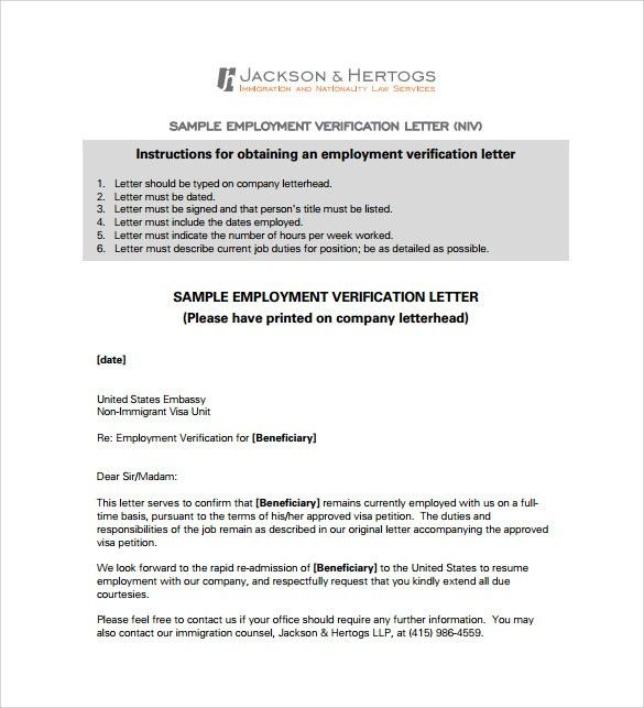 Employment Verification Letter - 14+ Download Free Documents in ...
