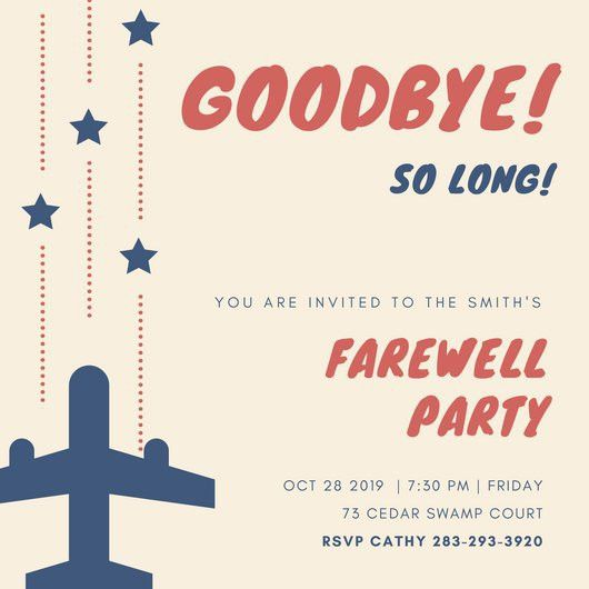 Farewell Party Invitation Template. Flying High - Farewell Party ...