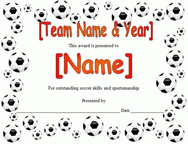 Soccer Award Certificate in Microsoft Word Format