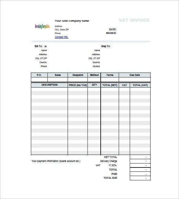Invoice Template with Value Added Tax – 8+ Free Word, Excel, PDF ...