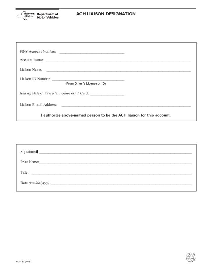 Form FM-139 - ACH Liaison Designation - New York Free Download