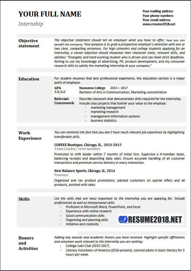 Internship resume examples