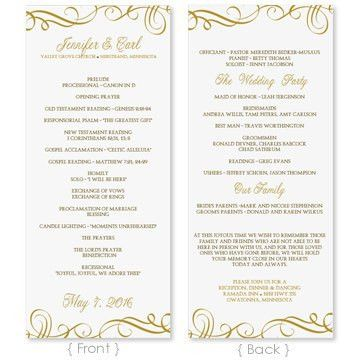 Wedding Program Template - DOWNLOAD INSTANTLY - Edit Yourself ...