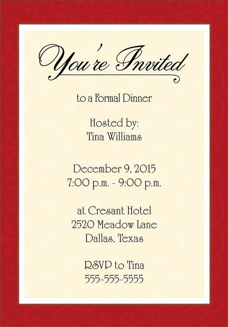 Invitation To Dinner Sample | Belcantofour