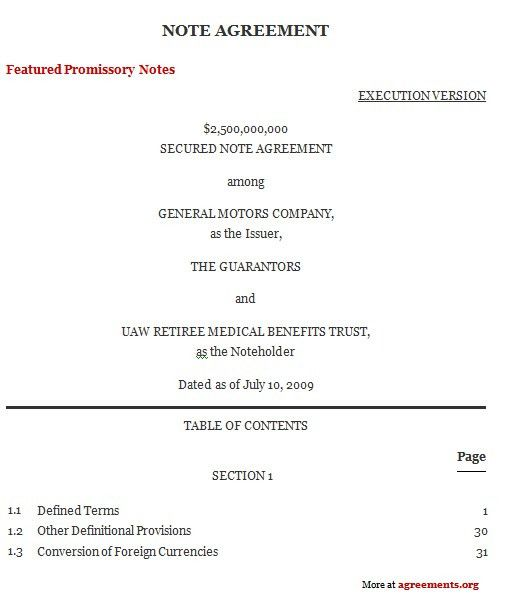 Note Agreement, Sample Note Agreement Template | Agreements.org