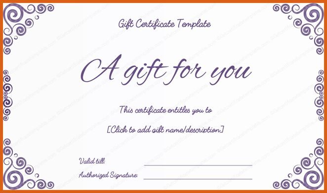 gift certificate template | apa examples