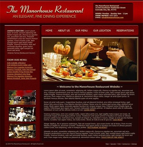 web page images | Restaurant Website Template - Fine Dining ...