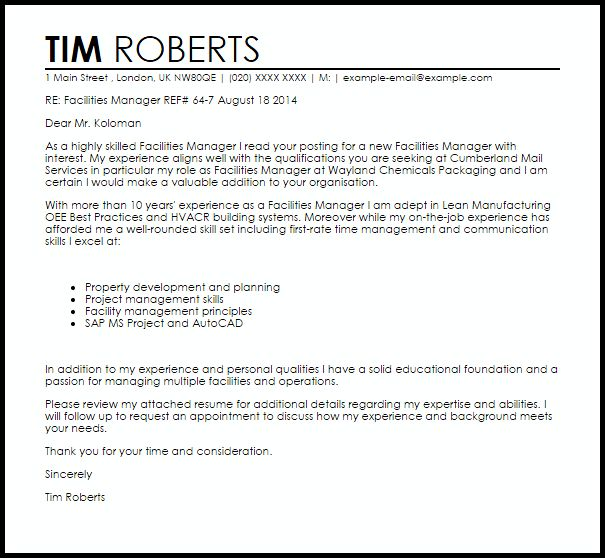 Facilities Manager Cover Letter Sample | LiveCareer