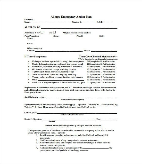 Emergency action plan template emergency action plan template 13 allergy action plan template 11 free sample example format pronofoot35fo Images