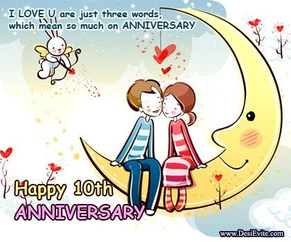 Create 10th Wedding Anniversary eCards (Send/Download)
