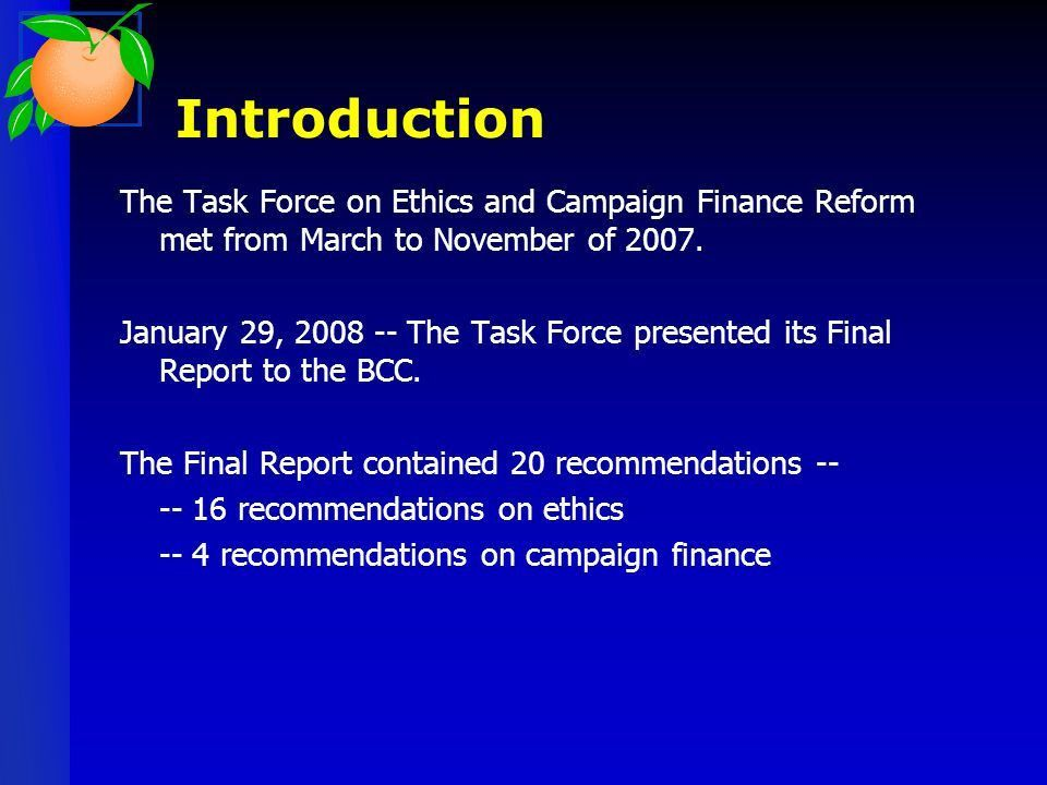 Discussion of Ethics & Campaign Finance Reform Packet Presented by ...
